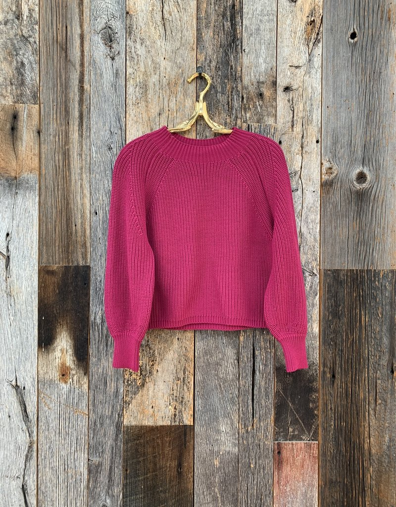 525 America Balloon Sleeve Cropped Sweater - Berry