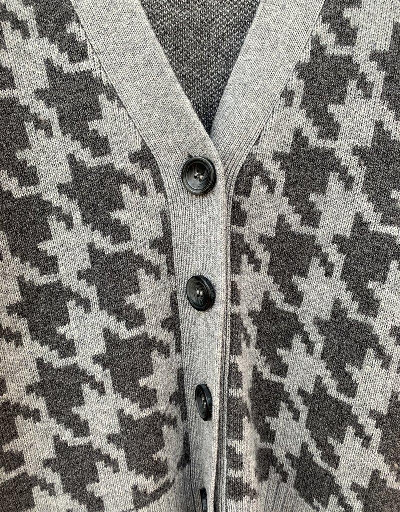 SWTR SWTR Houndstooth Boyfriend Cardigan - Grey Combo