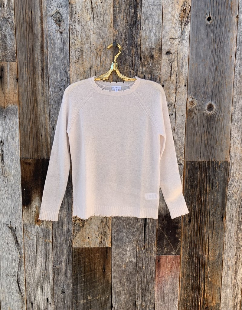 Minnie Rose Cashmere Distressed Long Sleeve Crew - Pearl