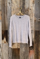 Minnie Rose 100% Cashmere Cable Frayed Crew - Light Heather Grey