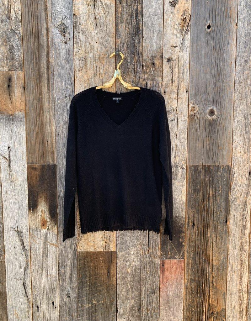 Minnie Rose Cashmere Distressed Long Sleeve V-Neck - Black