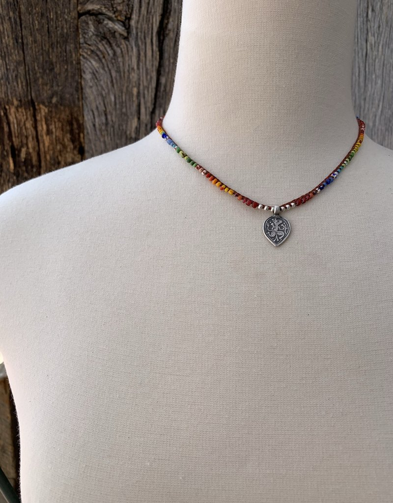 Minetta Design N-RAINBOW Necklace - Mix Trade Bead with Nymph Pendent