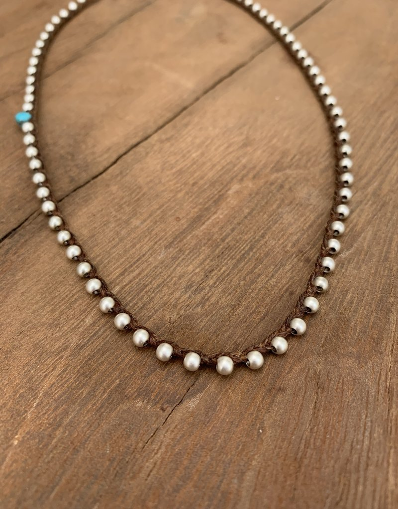 Minetta Design NALI Necklace - Turquoise on Walnut
