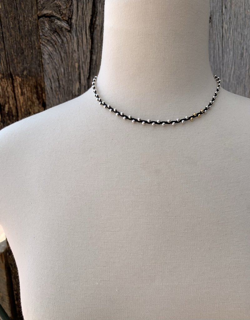Minetta Design NH Necklace - Silver & Gold on Black