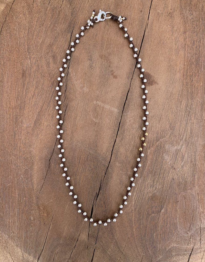 Minetta Design NH Necklace - Silver & Gold on Chocolate