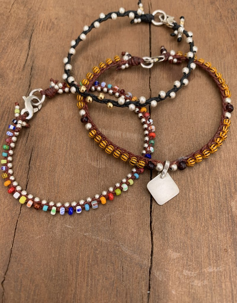 Minetta Design BSR-ORANGE STRIPE Bracelet- Silver & Pendent