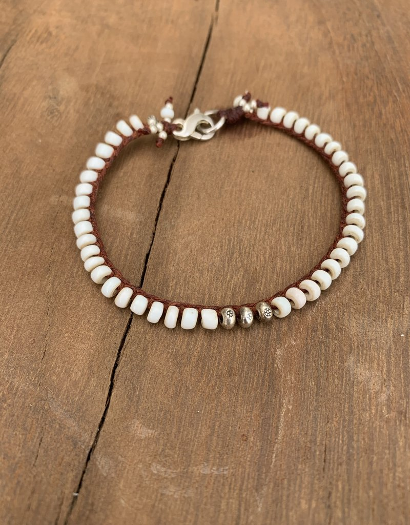 Minetta Design BSR WHITE Bracelet- White with Pecos
