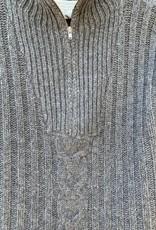 Oats Oats Cashmere Gaynelle Turtle Neck Zip - Charcoal