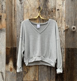 Project Social T Project Social T Endless  Cozy Rib  V-Neck  - Heather Grey