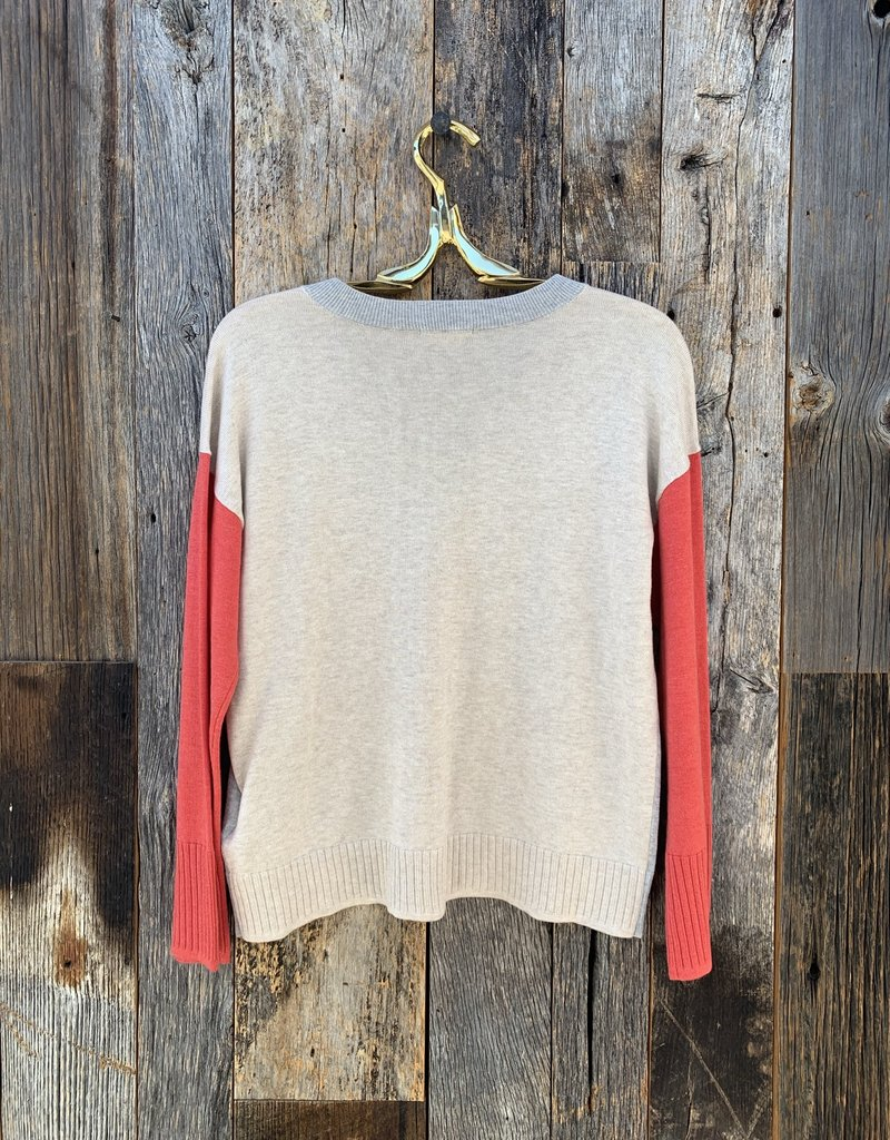 Lilla P Lilla P Colorblock V-Neck Sweater - Heather Grey