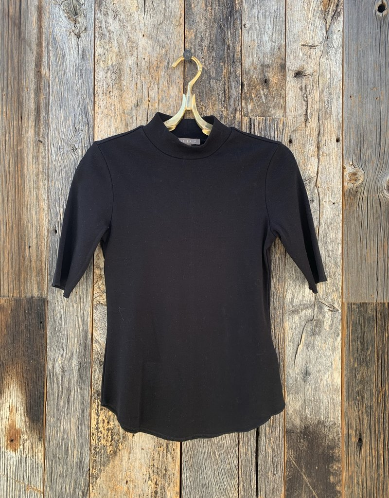 Lilla P Lilla P Elbow Sleeve Mock Neck Tee - Black