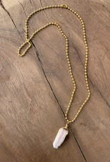 Leap Jewelry Necklace - Wrapped Pink Opal 002