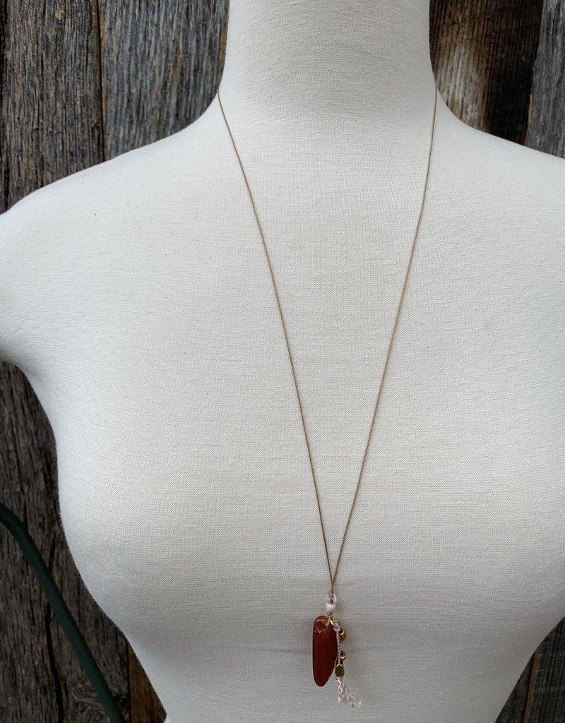 Leap Jewelry Necklace - Carnelian Tassel 001