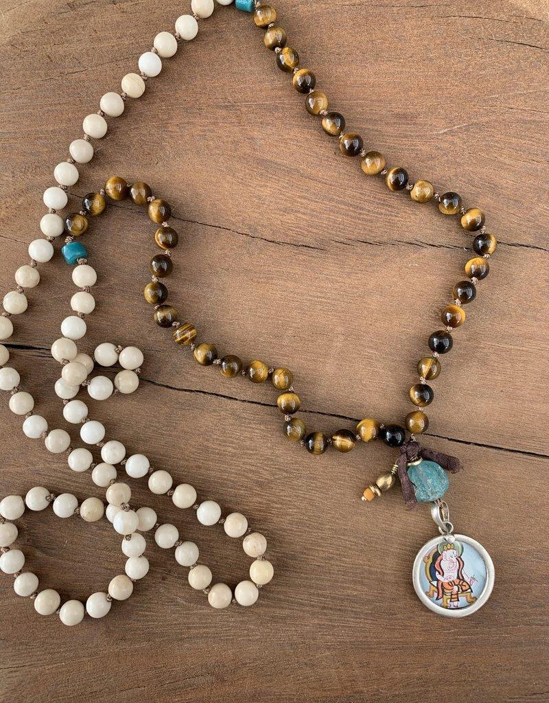 Leap Jewelry Mala - Tiger's Eye and Riverstone 001