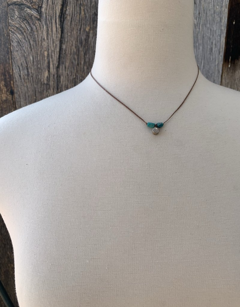 River Song Jewelry River Song Necklace 6-7W Diamond & Turquoise