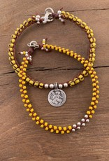 Minetta Design BDR Bracelet - Yellow with Silver on Sienna