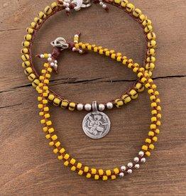 Minetta Design BDR Bracelet - Yellow with Silver on Sienna