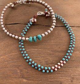 Minetta Design BATQ Bracelet - Turquoise & Silver on Walnut