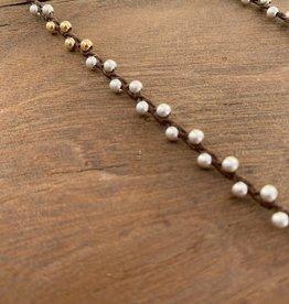 Minetta Design NH Necklace - Silver & Gold on Walnut