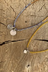Minetta Design NSR Necklace - African Trade Beads on Walnut