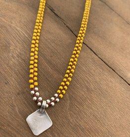 Minetta Design NDR Necklace - Yellow & Silver on Sienna