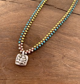 Minetta Design NDR Necklace - Turquoise & Lime on Sienna