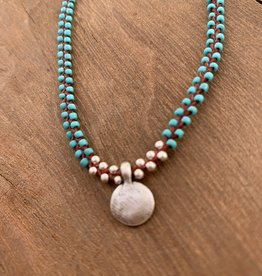 Minetta Design NDR Necklace - Turquoise & Silver on Sienna