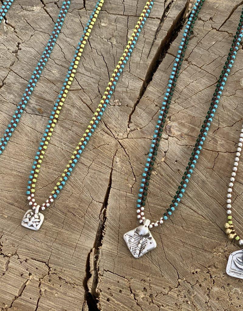 Minetta Design NSR Necklace - Silver with Brass Orbs on Sienna