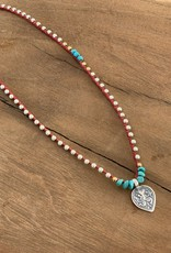 Minetta Design NRF Necklace - Gold & Silver with Turquoise on Sienna