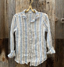 CP Shades CP Shades Romy Linen Top - Blue & Brown Stripe