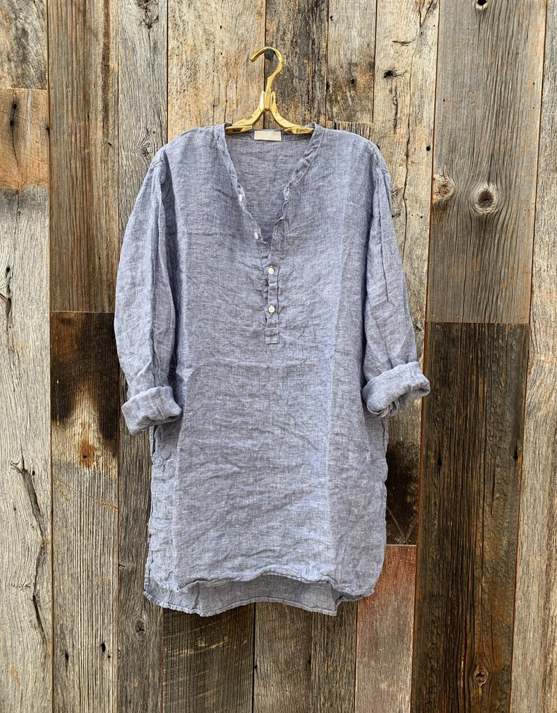 CP Shades CP Shades Kali Linen Top - Blue Chambray