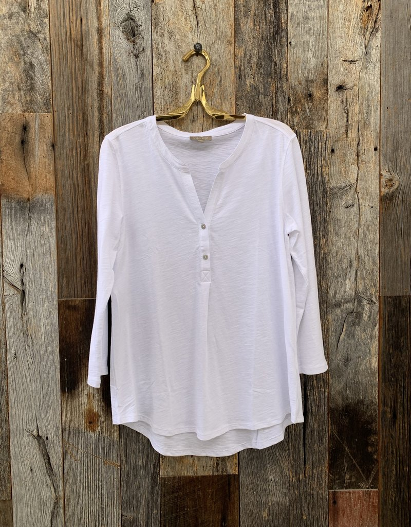 Lilla P Lilla P 3/4 Sleeve Henley Shirt - White