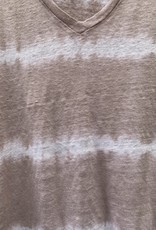 SWTR SWTR Linen Tie Dye Stripe V-Neck Tee - Stone