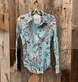 Cino Cino Button Down Top - Soft Turquoise/Tahiti
