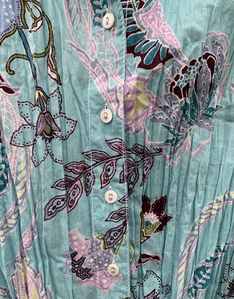 Cino Cino Button Down Top - Soft Turquoise/Tahiti