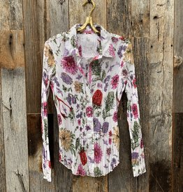 Cino Cino Button Down Top - White/Magical Garden