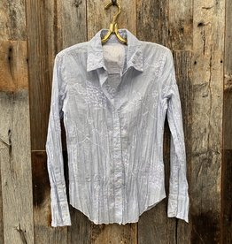 Cino Cino Button Down Top - Light Chambray/Hydrangea Embroidery