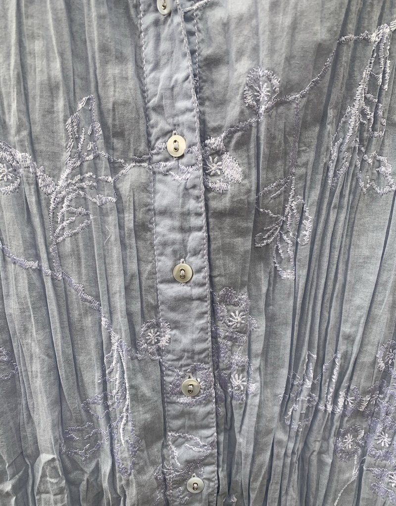 Cino Cino Button Down Top - Light Chambray/Hydrangea Embroidery