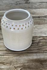 Fanta Watson Ceramic Vase Textured Gold Leaf - Cream