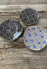 Fanta Watson Ceramic Plate Floral Gold Leaf - Marigold & Blue