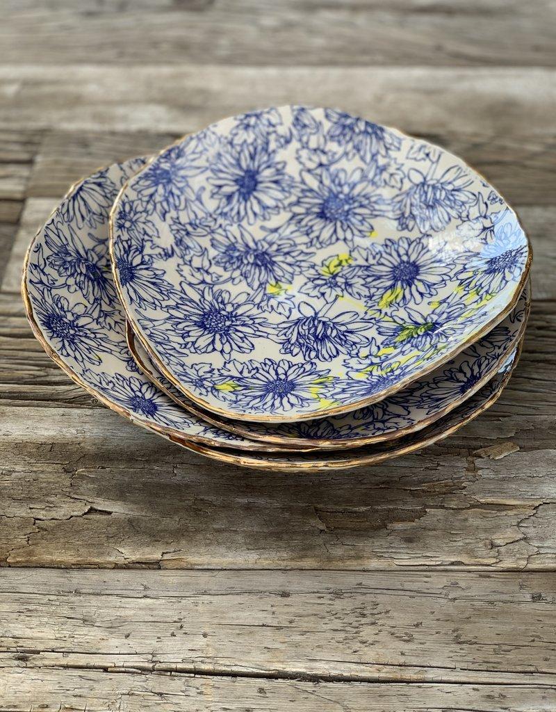 Fanta Watson Ceramic Plate Floral Gold Leaf - Cream & Blue