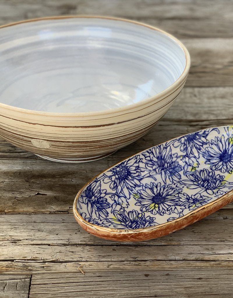 Fanta Watson Ceramic Dish Floral Gold Leaf - Cream & Blue