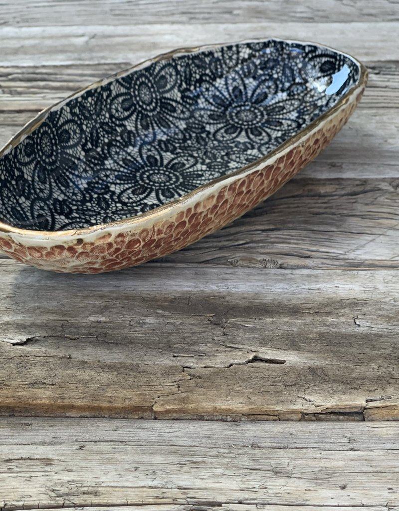 Fanta Watson Ceramic Dish Floral Gold Leaf - Cream & Black