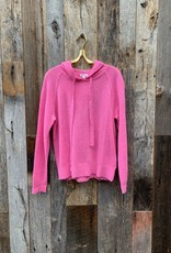 Minnie Rose 100% Cashmere Frayed Edge Hoodie - Think Pink
