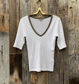 Lilla P Lilla P Elbow Sleeve V-Neck - White