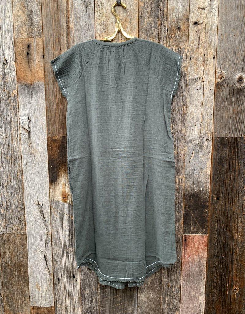 Lilla P Lilla P Button Down Tunic Dress - Mineral