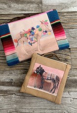 Totem Salvaged Barn Donkey on Pink Wall Mini Clutch