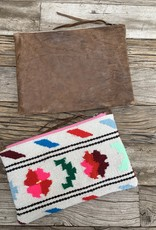 Totem Salvaged Donkey Leather & Linen Large Clutch