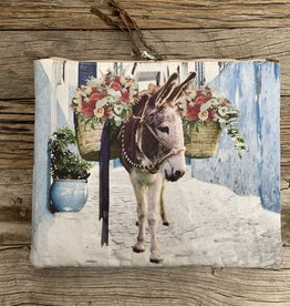 Totem Salvaged Donkey w/ Flowers Linen Large Clutch