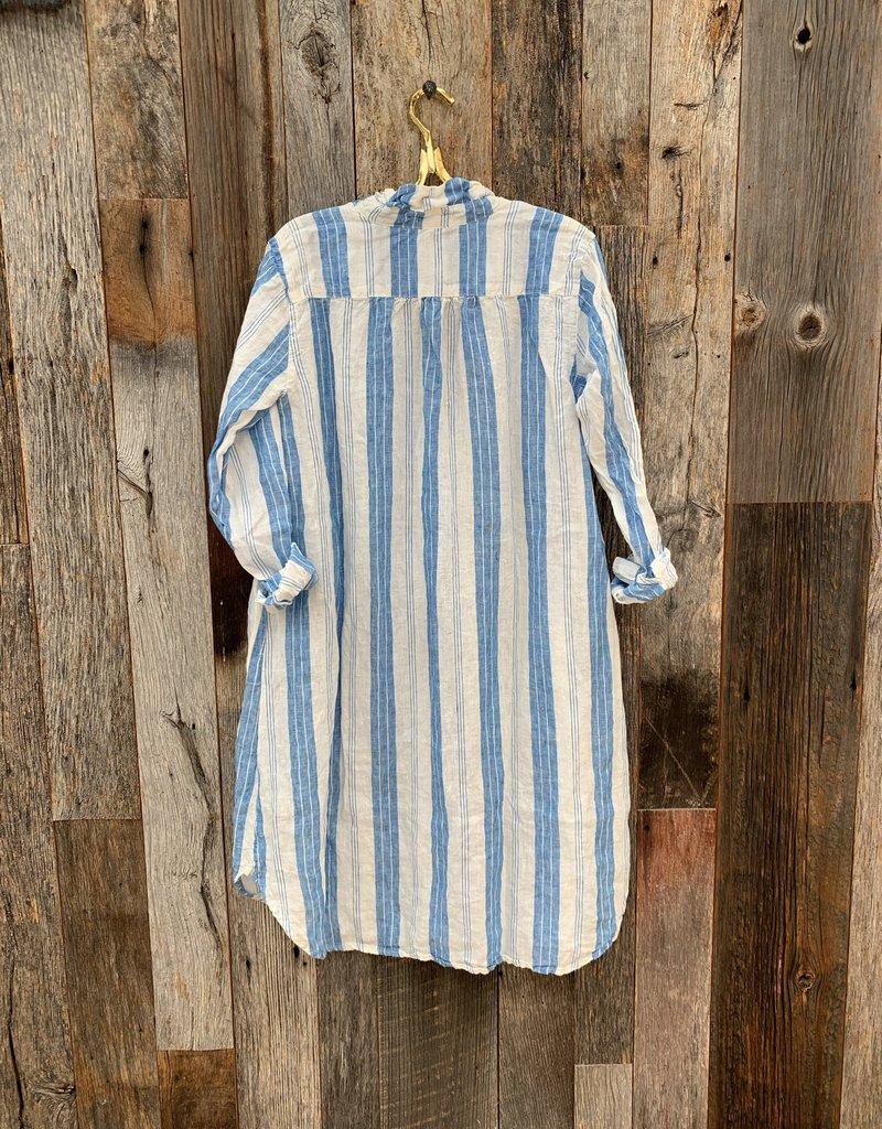 CP Shades CP Shades Lara Linen Dress - Blue Stripe